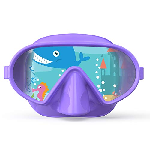 Fxexblin Kids Swim Mask Swimming Goggles with Nose Cover Snorkel Gear Scuba Diving Snorkeling, Anti-Fog Lens Leakproof Skirt 180° Panoramic View Face Dive Masks for Youth Junior Children