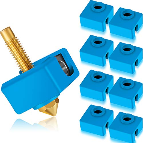 10 Pieces 3D Printer Heater Block Silicone Sock 3D Printer Silicone Cover Compatible with Creality CR-10, S4, S5, Anet A8, MK7/ 8/9 3D Printer Hotend
