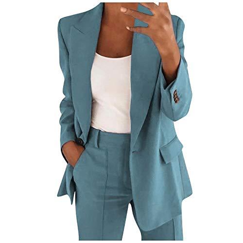 Blazers Mujer Casual SHOBDW Liquidación Venta Señoras de la Oficina Trajes Mujer Trabajo Solapa Chaqueta Mujer Slim Fit Cardigan Mujer Baratos Abrigo Mujer Largos Tallas Grandes(Armada,M)