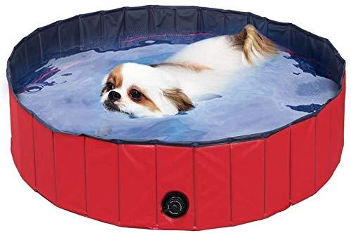 COOLGUY - Piscina para perros, plegable, resistente, para perros, mascotas, piscina, piscina para perros, gatos y niños, para jardín, patio, baño (80 x 20 cm), color rojo