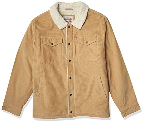 Levi's Men's Corduroy Sherpa Lined Trucker Jacket (Standard and Big & Tall), tan, Medium