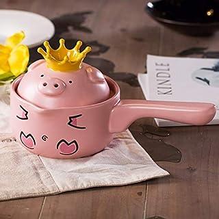 QNWTFD Mini Pink Pig Ceramic Milk/single Handle Non-stick Soup Pot With Lid 1L (Color : Pink)