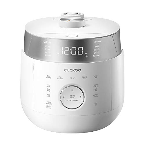 Cuckoo CRP-LHTR1009F 10 Cup Twin Pressure Rice Cooker, Induction Heating Twin Pressure Rice Cooker, 16+ Menu Options, Stainless Steel Inner Pot, Made in Korea, White