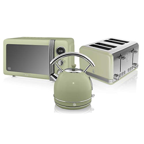 Swan, Retro Kitchen Bundle, 1.8L Dome Kettle, 4 Slice Toaster and 800W Digital Microwave, (Green)