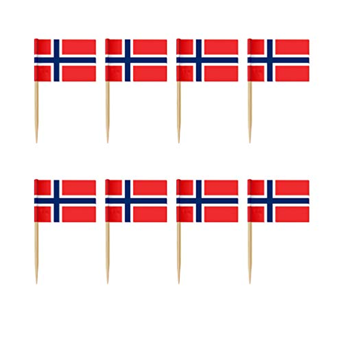 STOBOK 100 Stücke Norwegen Flagge Cupcake Topper Picks Cocktail Picks Wüstenfrucht Picks Zahnstocher Fahnen für Welt Land Sport Partei Dekorationen Liefert