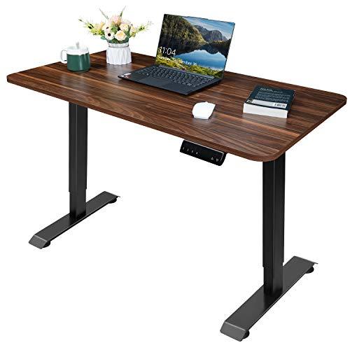 Homall Höhenverstellbarer Schreibtisch 110 cm Elektrisch Stufenlos Ergonomischer Computertisch mit Holz Tischplatte und Memory Funktion (Braun)