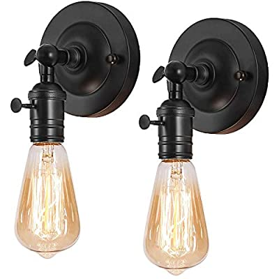 Industrial Wall Sconce 2 Pack, Swing Arm Farmhouse Adjustable Wall Lighting Fixtures for Home, Kitchen, Black