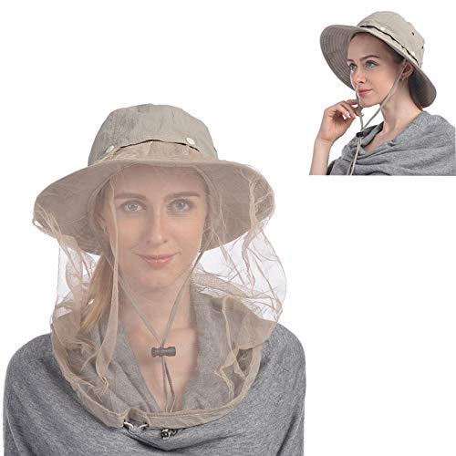 USHAKE Head Net Hat, Safari Hat Sun Hat Bucket Hat with Hidden Net Mesh Khaki