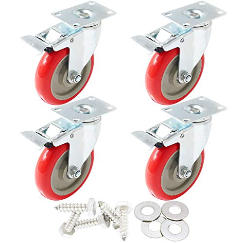 FactorDuty 4 Pack Caster Wheels Swivel Plate On Red Polyurethane Wheels with HD Hardware Kit (5