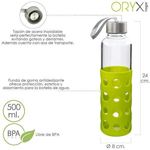 ORYX 5075055 Botella Agua de Cristal Con Funda Goma y Tapon Antigotas 500 ml, Plateado