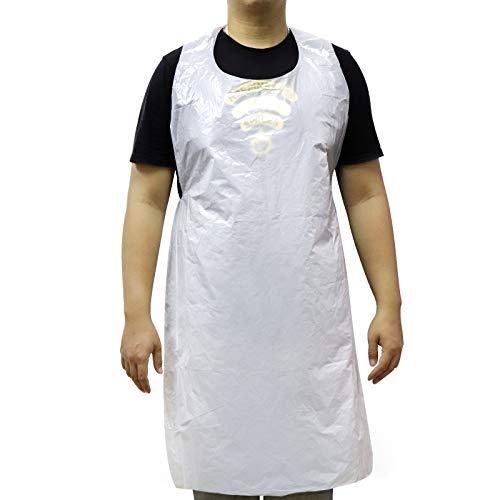Mokani 100 Stück Kunststoff Einweg-Schürzen Weiß PE Dicke Schürzen für Erwachsene und Kinder, öldicht, wasserdicht und lackfest, langlebig zum Kochen, Malen, Grillen, 120 x 70 cm, Weiß
