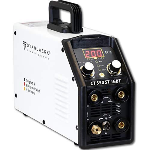 STAHLWERK CT550 ST, kompaktes WIG MMA Schweißgerät mit Plasmaschneider, bis 12mm, 200 Ampere WIG MMA 50 Ampere CUT, weiß, 7 Jahre Garantie (kein ALU-Schweißen)