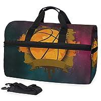 宇宙バスケットボールスポーツスイムジムバッグシューズコンパートメントウィークエンダーダッフルトラベルバッグハンドバッグレディースガールズメンズ