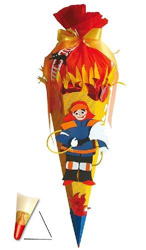 alles-meine.de GmbH BASTELSET Schultüte - Feuerwehr 85 cm - mit Holzspitze - Zuckertüte Roth - ALLE Größen - 6 eckig Jungen Auto Rettung Feuerwehrauto
