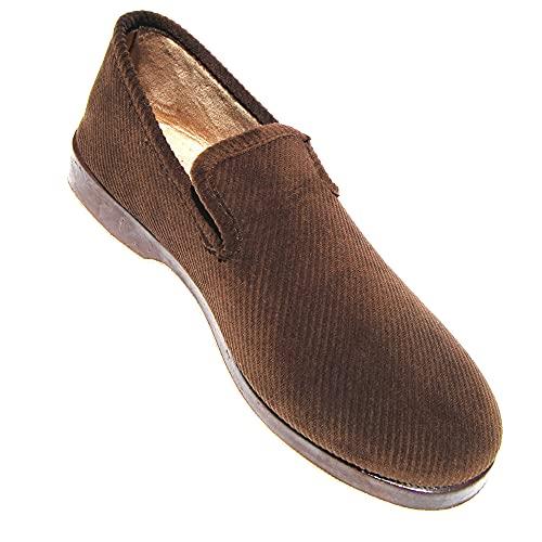 TeviotBrown - Zapatillas de terciopelo para hombre, Marrón (marrón), 45 EU