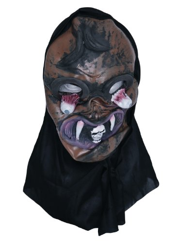 Zombie caoutchouc Marron-Fangs-Masque tête de mort