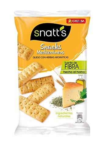 Snatts Grefusa Snacks Mediterráneos Palitos de Pan de Queso con Hierbas Aromáticas, 110g