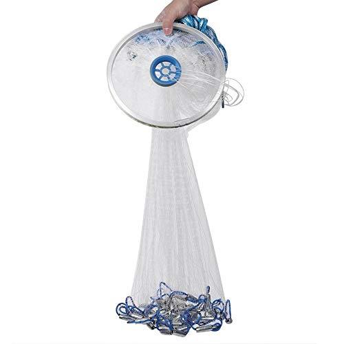 A sixx Fishing Cast Net, tragbares, langlebiges Handwurf-Fischnetz-Netz Catch Fishing Network Trap Zubehör Nylon Monofilament Casting Net für Köderfalle Outdoor Fish Tool Angelausrüstung(3.6m)