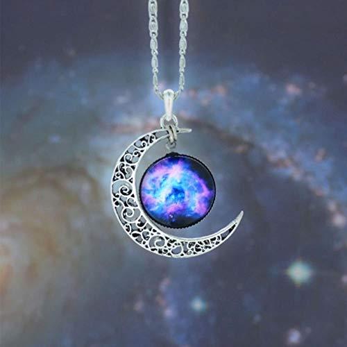 SONGQI Adornos De Cristal para Coche Cosmic Star Moon Time Collar con Colgante De Piedras Preciosas Decoración De Boda Brillante,como En La Imagen
