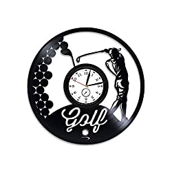 Kovides Golf Vinyl Clock Golf Wall Clock Large Golf Vinyl Wall Clock Sport Gift for Him Golf Vinyl Record Wall Clock Gift for Dad Golf Clock Golf Game Golf Club 12 inch Clock New Year Gift