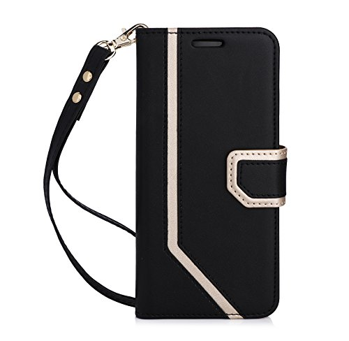FYY Leather Case with Mirror for Samsung Galaxy S8, Leather Wallet Flip Folio Case with Mirror and Wrist Strap for Samsung Galaxy S8 Black