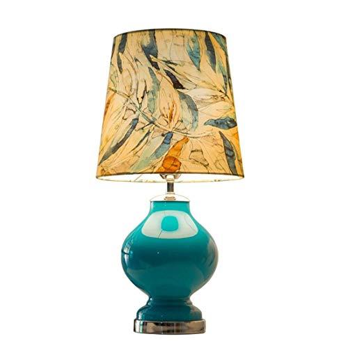 MGWA Lámpara de Mesa Nordic Moderna Simple Creativa Moda Pastoral Azul Cristal E27 Decoración Regalos Leer Sala De Estar Estudio Dormitorio Lámpara De Cabecera 14 * 29 * 57