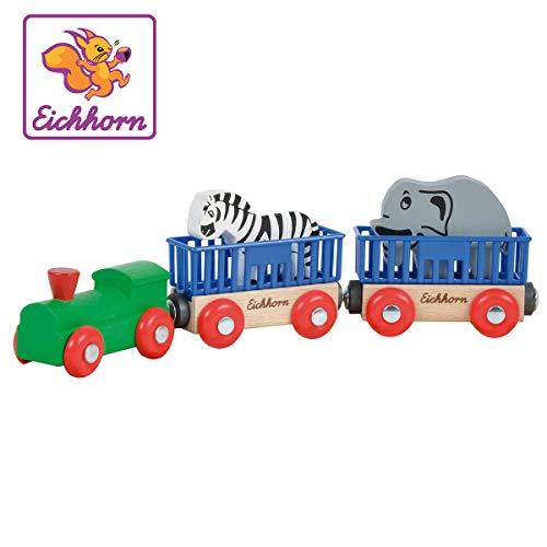 Eichhorn 100001351 - Tierzug, 5-tlg., Lok mit 2 Wagons und 2 Tieren: Zebra/ Elefant, 24cm, FSC 100% Zertifiziertes Buchenholz - verbaubar mit fast allen Schienenbahnsystemen