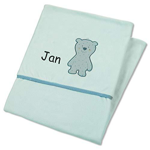 Sterntaler Decke mit Namen, Serie Ben Grün 100x75, Baby Kinder Plüsch-Decke Einschlagdecke Schmusedecke Babydecke Kuscheldecke