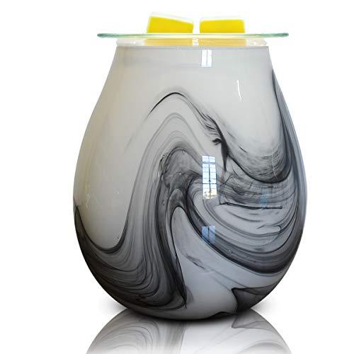 EQUSUPRO Glass Wax Melt Warmer Electric Essential Oil Fragrance Melter Oil Burner Night Light Aroma Decorative for Home Office Bedroom Living Room Gifts (Ink Wave)