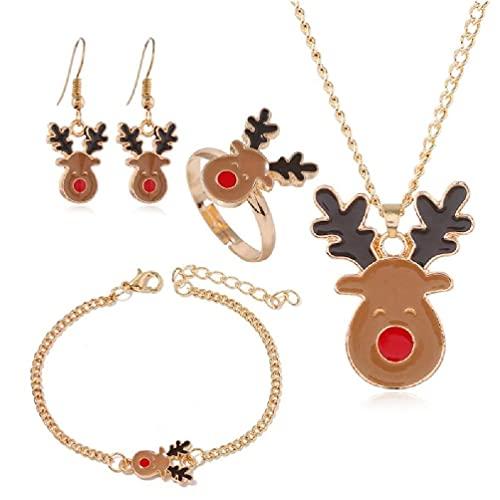 YU-HELLO Joyería de Navidad Santa Claus Reno Luna Bell Colgante Collar Pulsera Anillo Pendientes Conjunto Ajustable para Mujeres Regalos Pendientes Conjunto de Pulsera de Oro Rosa para Mujeres Boda