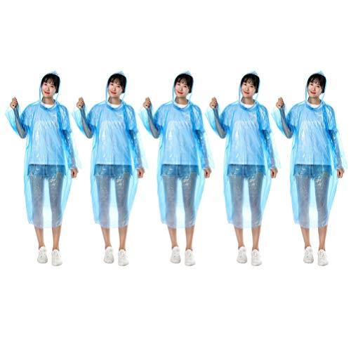 PRETYZOOM 10 Stück Einweg-Regenponcho Einweg-Arbeitsoveralls Schutzanzüge Schutzregenmäntel Regenmäntel mit Kapuze für Arbeiten im Freien Laborbedarf Blau