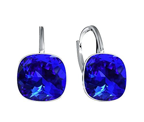 Crystals & Stones Majestic Blue * Plata 925 * Square * – Pendientes con cristales de Swarovski – Bonitos pendientes para mujer – Maravillosos pendientes con caja de regalo