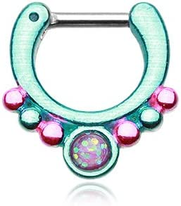 WildKlass Jewelry Purple Opal Teal Septum Clicker 16g 1/4