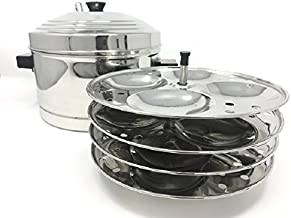 Tabakh IC-204 4-Rack Stainless Steel Idli Cooker with Strong Handles, Makes 16 Idlis