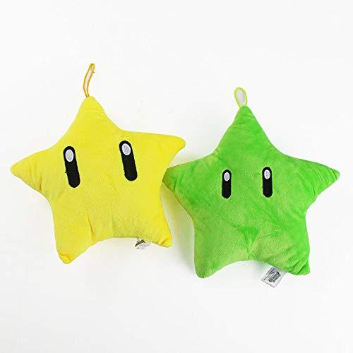 Mario Plush 2 unids/lote Super Mario juego anime serie Mario peluche muñeca juguete amarillo verde cinco puntas estrella almohada