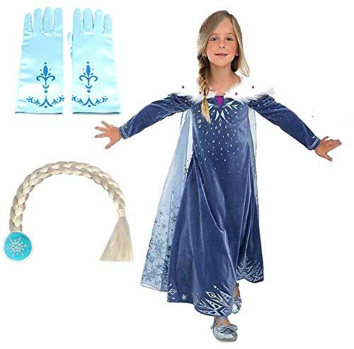 Kostüm Frozen Mädchen Elsa - mit Handschuhe und Zopf - Fasching - Kleid - Halloween - Deluxe - Mantel - Mädchen - Weihnachten - Cartoon - Prinzessin Taglia 150-6-7 anni blau
