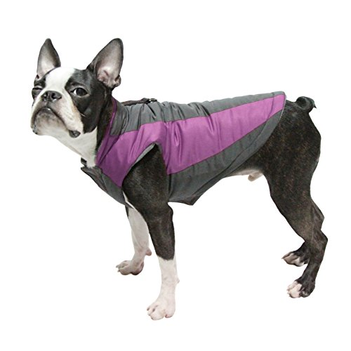 Gooby - Trekking Jacket, Small Dog Fleece Lined Jacket with Water Resistant Shell and Leash Ring, Purple, Small