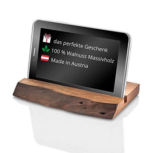 njude Alpha 1 - Tablet Halterung aus edlem Walnuss Holz für iPad Air, iPad Pro, iPhone, Samsung und andere Tablets und Smartphones Tabletständer/Handyhalter Schreibtisch
