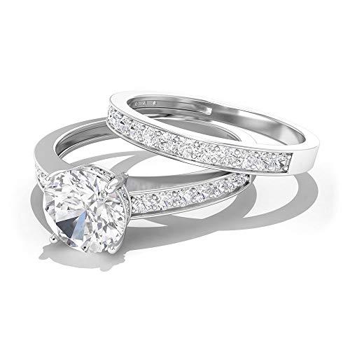 Anillo de compromiso solitario de 1 ct, anillo de novia de Moissanite, anillo de boda de eternidad, DEF-VSS1 claridad de color 0,56 ct, 14K Oro blanco, Size:EU 44