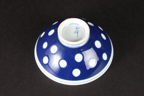 有田焼厚渕飯碗(中)水玉柄23219
