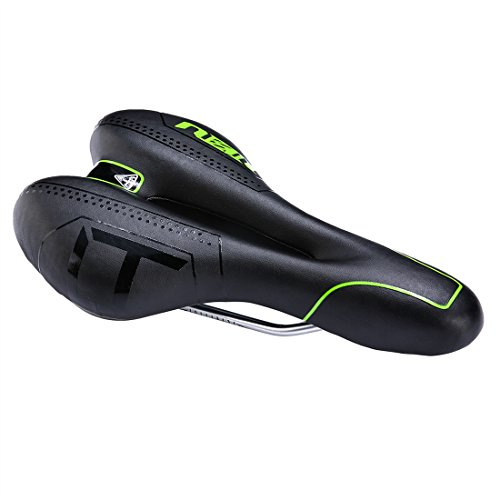 ZHIQIU Comfortable Men Wemen Bike Seat Mountain Bicycle Saddle Cushion Cycling Pad Waterproof Soft Breathable Fit for Road Bike,Mountain Bike and Folding Bike (Black/Green)