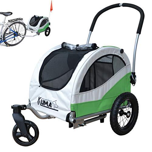 Papilioshop Kuma - Remolque para bicicleta de paseo o transporte de perros (verde)