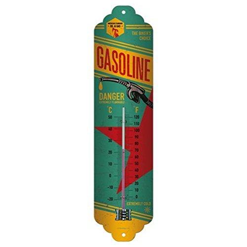 Nostalgic-Art Gasoline Termómetro, Metal, 28 x 6.5 x 2 cm
