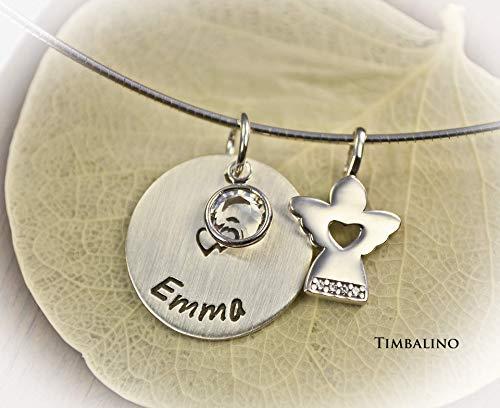 Silberkette Anhänger mit Gravur, Geburtsstein, Schutzengel mit Omegakette