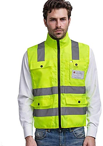 Mouwloze Safety Vesten Heren Vest gele reflecterende jas met reflecterende strips For Work Outdoor Activity Reflecterende veiligheidsvest for Ru XMJ