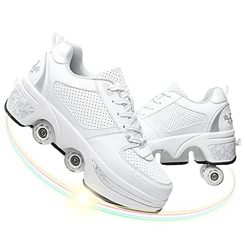 Doble Rodillo Zapatos De Skate Zapatos Invisible De Polea De Zapatos Zapatillas De Deporte Luz Zapatos Zapatos Multiusos, Niños Zapatos con Ruedas