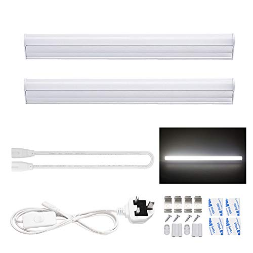30cm T5 LED Integrated Light Fixture, 5W 6000K Cool White with ON/Off Switch UK Power Plug, Fluorescent Light Bulbs Replacement for Kitchen/Under Cabinet/Ceiling/Garage/Office/Shed/Shop 2-Pack