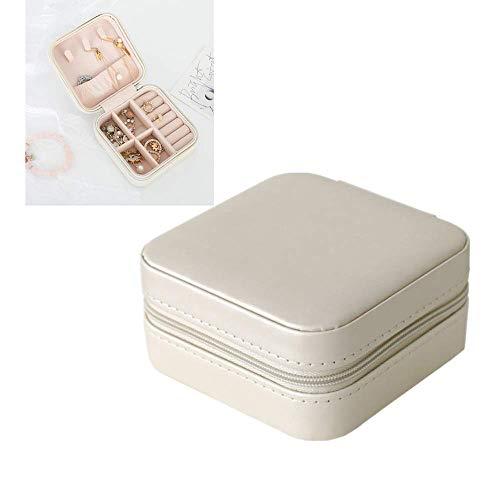 ANNIUP Boîte à bijoux en cuir synthétique portable avec fermeture éclair pour collier/bague/boucles d'oreilles 10 x 10 cm
