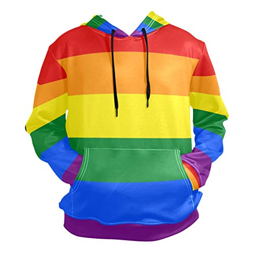 Leisure Clothes Gay Pride Rainbow Hooded Sweatshirt Men Upper Outer Garment Thin Sportswear Size L