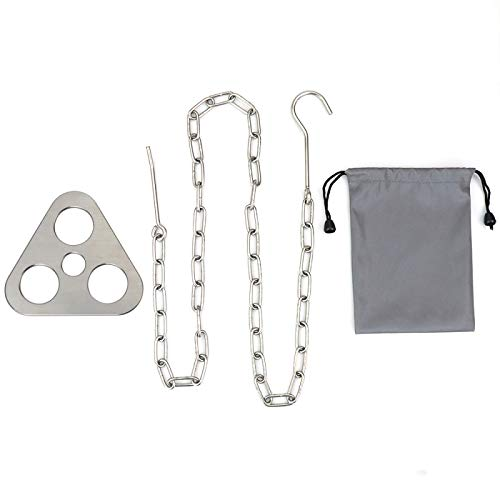 ZXY Camping Tripod Hanger, Stainless Steel Outdoor Multifunctional Convenient Tool, Hanging Ring Tripod, Camping Charcoal Barbecue Accessories